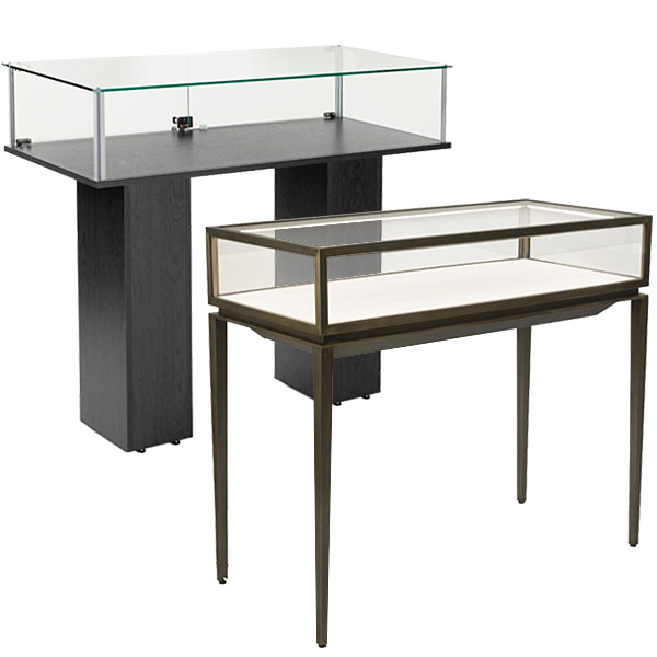 Museum-quality dispensary tables with glass enclosures