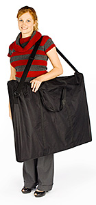 Girl with portable display board in carrying bag