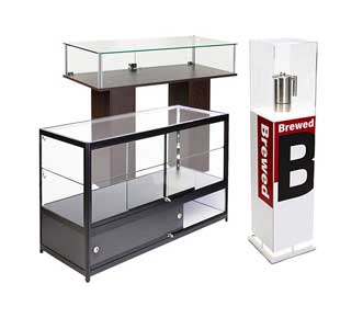 Retail display cases, pedestals, and counters