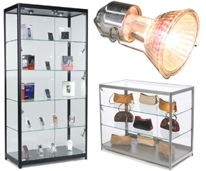 Display cases with halogen lighting