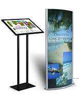 large light boxes illuminate advertisements or directories
