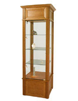 These display show cases are offered in several wood finishes.