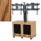 Modern Medium Oak Veneer Dual Monitor Trolley