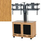 Modern Light Oak Laminate Dual Monitor Trolley