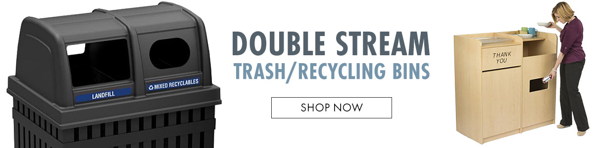 Double stream trash and recycling bins