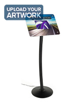 Small digital advertising stand with black free standing pedestal
