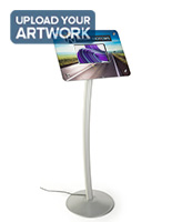 Small digital signage stand features 10.1 inch media screen