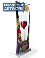 Layered 3D retractable banner stand with 79 inch tall display area