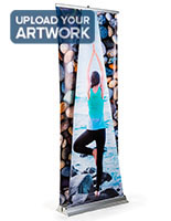 Dual layer 3D roller banner display with full color printing on both panels