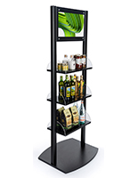 Black digital sign merchandising shelves