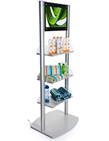Merchandising Shelves with Digital Sign & Built-in Speakers