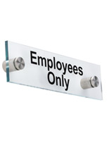 """Employees Only"" Standoff Sign, Clear"