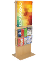 Two-Sided Wooden Poster Display With 20 Pockets for Retail Stores