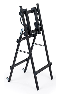 Folding metal TV easel with grab handles and wheels