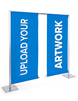 Custom dual roll-up banner stand with two 30 inch by 90 inch banners