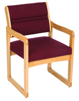 Burgundy Waiting Room Chair, Light Oak