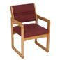 Burgundy Lobby Chair, Medium Oak Finish
