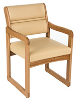 Cream Reception Room Chair, Medium Oak Wood Finish