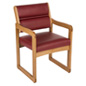 """Wine"" Wooden Lobby Chair, Medium Oak Finish"