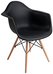 Eames-style molded plastic office chair with scoop seat
