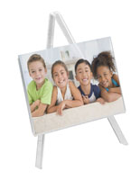 Acrylic tabletop display easel with Small Footprint