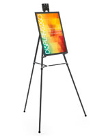 "Black Easel Stand W/ 18"" x 24"" Snap Frame, Aluminum"