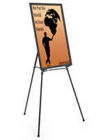 "Black Easel Stand with 24"" x 36"" Snap Frame with Protective Poster Cover"