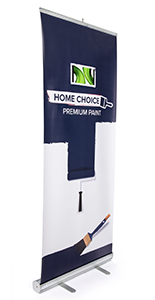 Retractable pull up banner with 10-inch screen