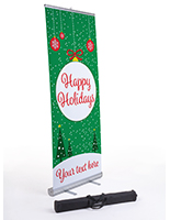"""Happy Holidays"" retractable business banner with custom message"
