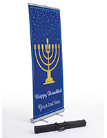 """Happy Hanukkah"" business banner with gold menorah"