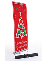 Business banner with Christmas tree with custom text