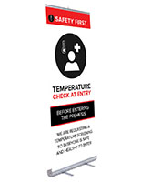 78 inch tall retractable temperature check banner with full bleed artwork