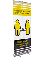 Printed social distancing banner on clear film includes silver aluminum base