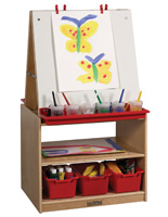 Double Sided Children's Art Easel with Storage on Birch Frame