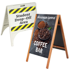 Outdoor-rated sidewalk signs for school use