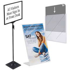 Small-size sign holders for schools and libraries
