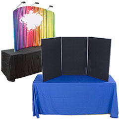 Table coverings and school presentation display boards