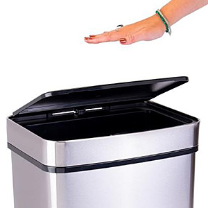 Electronic trash can with motion-sensor top lid