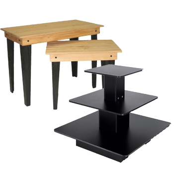 tables and shelving for electronics stores