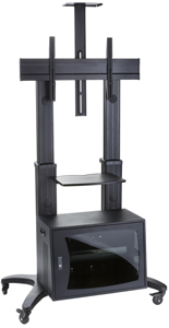 Mobile TV Rack with Lockable Storage, Black Finish