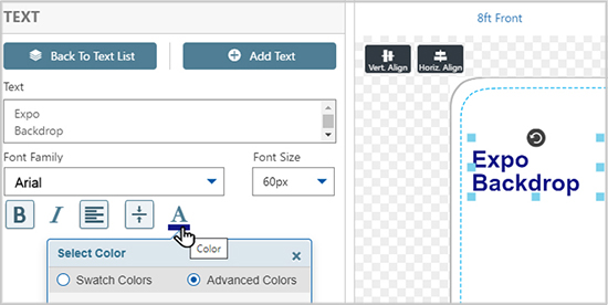 Choose font and text colors for custom tension fabric backdrops