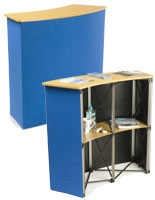 Use this exhibition counter to perform a product demonstration at a trade show.