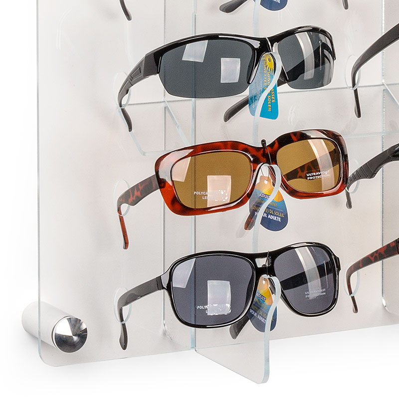 Wall mount standoffs supporting this sunglasses display