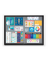 Aluminum frame bulletin board with medical notices