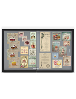 Glass enclosed notice board with aluminum frame with restaurant notices