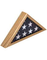 American-Made 3' x 5' Oak Flag Display Case with Solid Wood