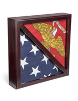 Dual Flag Commemorative Military Frame for 5 x 9.5 Tri-Fold Banners