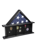 3-Bay Memorial Mantle Flag Display with 3 Medal Boxes