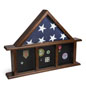 3-Bay Mantle Flag Display Case for 5 x 9.5 Tri-Fold Banners and Medals