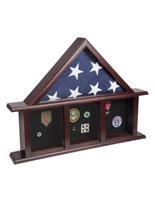 3-Bay Shadow Box Mantle Flag Holder for 5 x 9.5 Banners